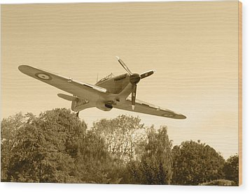 Spitfire Wood Print by Chris Day