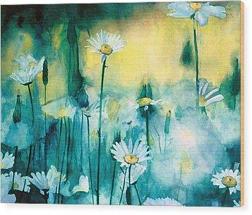 Splash Of Daisies Wood Print by Cyndi Brewer