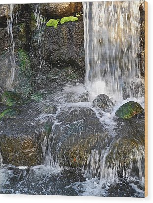 Splashing Water Falls Wood Print by Kirsten Giving