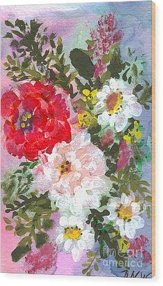 Splashy Flowers Wood Print by Debbie Wassmann