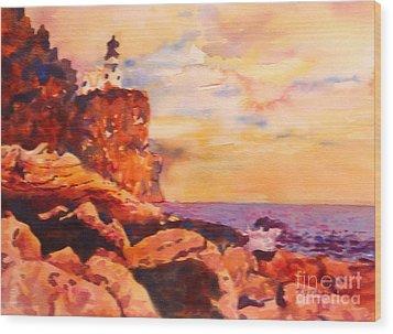 Split Rocks Golden Memories       Wood Print by Kathy Braud