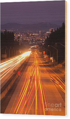 Spokane At Night Wood Print by Beve Brown-Clark Photography