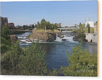 Spokane Falls Hdr Wood Print by Carol Groenen