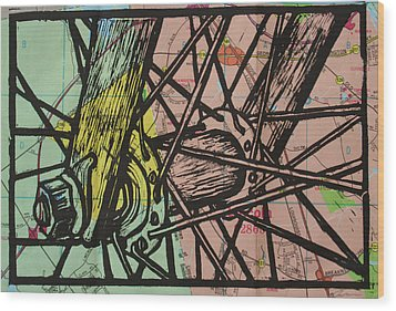 Spokes On Map Wood Print by William Cauthern
