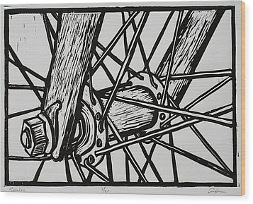 Spokes Wood Print by William Cauthern