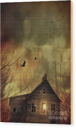 Spooky House At Sunset  Wood Print by Sandra Cunningham
