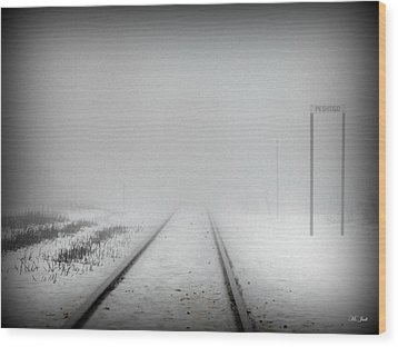 Spooky Train Tracks Wood Print by Ms Judi