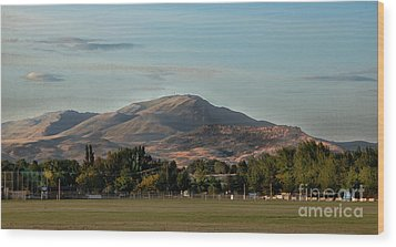 Sport Complex And The Butte Wood Print by Robert Bales