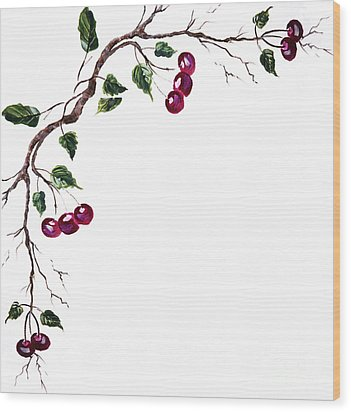 Spray Of Cherries Wood Print