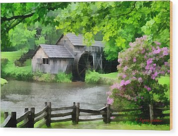 Spring At Mabry Mill Wood Print by Lynne Jenkins