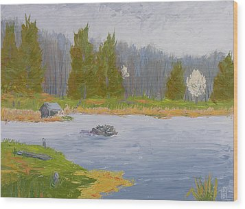 Spring Blossoms Beaver Pond Wood Print by Robert P Hedden