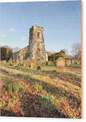Spring Churchyard Wood Print by Sarah Couzens