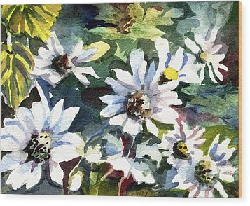 Spring Daisies Wood Print by Mindy Newman