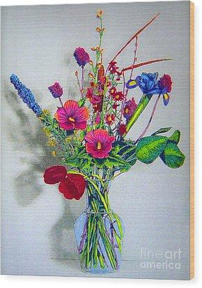 Spring Flowers In Glass Vase Wood Print by Merton Allen