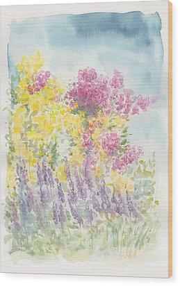 Wood Print featuring the painting Spring Garden by Jane  See