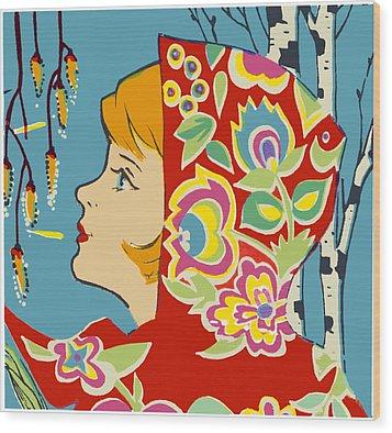 Spring Girl Poster Wood Print by Aleksandr Volkov