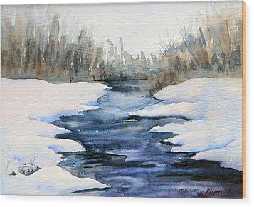 Spring Melt Wood Print by Kristine Plum