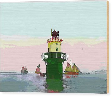 Spring Point Light Wood Print by Charles Shoup