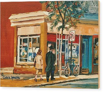 Spring Time In Montreal City Scene Wood Print by Carole Spandau