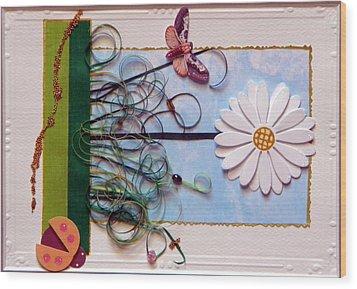 Springdaisy Wood Print by Gracies Creations