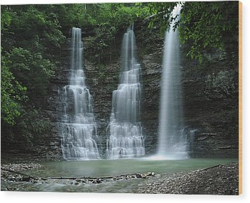 Wood Print featuring the photograph Springtime At Triple Falls by Renee Hardison