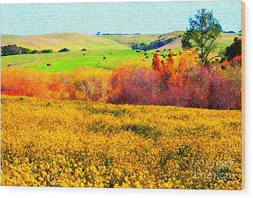 Springtime In The Golden Hills . 7d12402 Wood Print by Wingsdomain Art and Photography