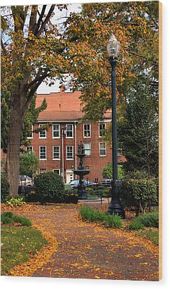 Square In Lisbon Ohio Wood Print by Michelle Joseph-Long