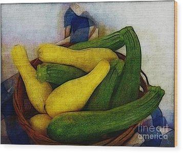 Squash Basket Wood Print by Judi Bagwell
