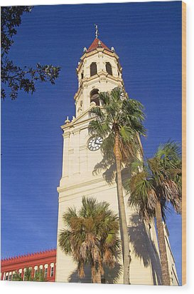 St. Augustine Church Clock Tower Wood Print by Patricia Taylor