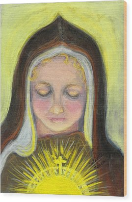 St. Clare Of Assisi All Aglow Wood Print by Susan  Clark