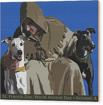St. Francis With Two Greyhounds Wood Print by Kris Hackleman