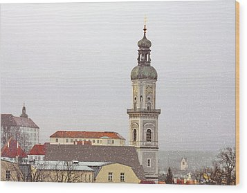 St. George In Snow - Freising Bavaria Germany Wood Print by Christine Till