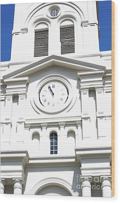St Louis Cathedral Clock Jackson Square French Quarter New Orleans Diffuse Glow Digital Art Wood Print by Shawn O'Brien
