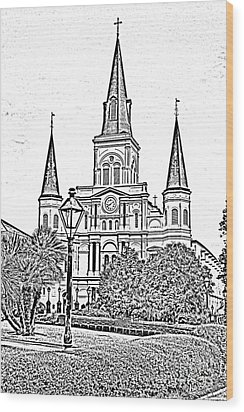 St Louis Cathedral Jackson Square French Quarter New Orleans Photocopy Digital Art  Wood Print by Shawn O'Brien