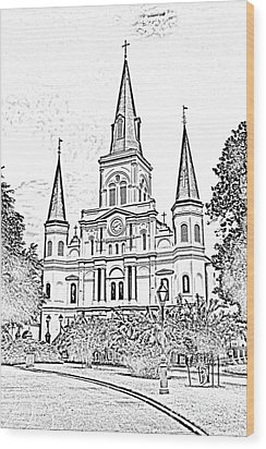St Louis Cathedral Jackson Square French Quarter New Orleans Photocopy Digital Wood Print by Shawn O'Brien