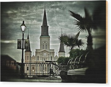 Wood Print featuring the photograph St. Louis Cathedral by Jim Albritton