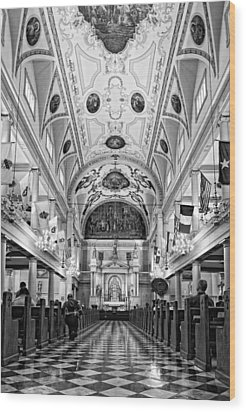 St. Louis Cathedral Monochrome Wood Print by Steve Harrington