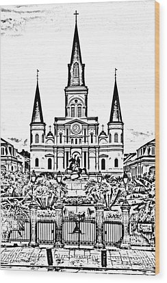 St Louis Cathedral On Jackson Square In The French Quarter New Orleans Photocopy Digital Art Wood Print by Shawn O'Brien