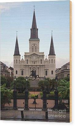 St Louis Cathedral On Jackson Square In The French Quarter New Orleans Wood Print