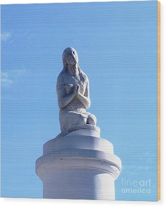 Wood Print featuring the photograph St. Louis Cemetery Statue 1 by Alys Caviness-Gober