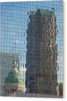 Wood Print featuring the photograph St. Louis Reflections by Nancy De Flon