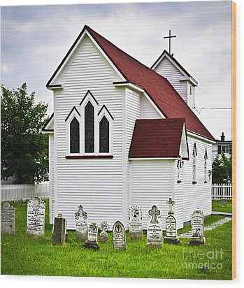 St. Luke's Church And Cemetery In Placentia Wood Print by Elena Elisseeva