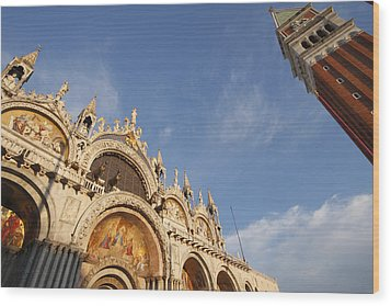 St. Markss Basilica And Campanile Off Wood Print by Trish Punch