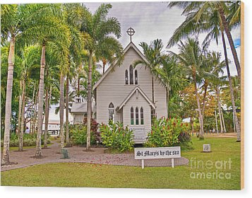 St Mary's By The Sea Wood Print by Bob and Nancy Kendrick