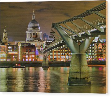 St Pauls Catherderal And Millennium Footbridge - Night - Hdr Wood Print by Colin J Williams Photography