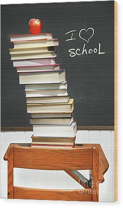 Stack Of Books On An Old School Desk  Wood Print by Sandra Cunningham