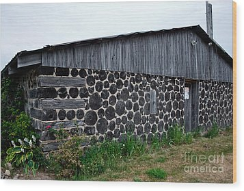 Wood Print featuring the photograph Stacked Block Barn by Barbara McMahon