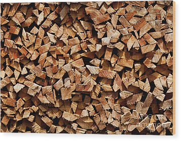 Wood Print featuring the photograph Stacked Cord Wood by Charles Lupica