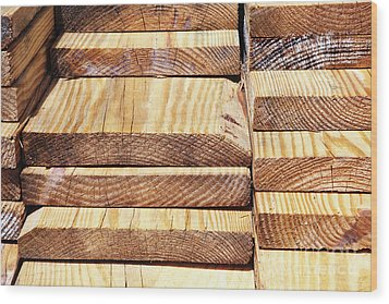 Stacked Wooden Planks Wood Print by Skip Nall