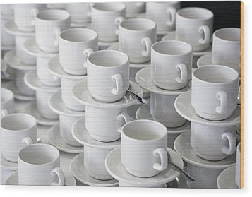 Stacks Of Cups And Saucers Wood Print by Tobias Titz